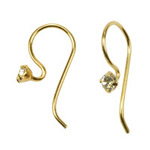 Gold crystal earwires